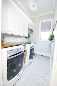 DIY Laundry Room Mini Makeover - Bower Power Disclaimer – This is a sponsored post brought to you by Maytag®. All opinions are my own. Mudroom Laundry Room, Laundry Room Layouts, Laundry Room Cabinets, Farmhouse Laundry Room, Farmhouse Remodel, Laundry Room Design, Laundry Area, Modern Laundry Rooms, Laundry Room Inspiration