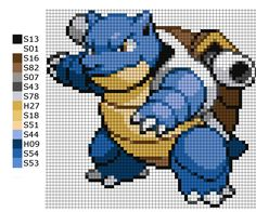 This is the pattern I used to make the Pokemon Blastoise with beads. H = hama A = artkal