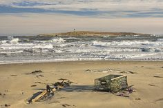 Popham Beach and Pond Island Lighthouse on the coast of Maine, canvas prints, posters and throw pollow cases.