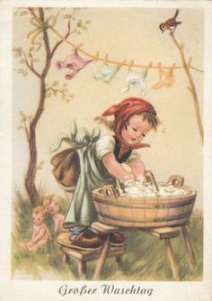 AK Kinder Mädchen wäscht Puppenkleider ++ | eBay