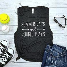 Mom Shirts Discover softball tank baseball tank summer days and double plays tank softball mom tank softball muscle tank softball gift softball tank top Dodgers, Softball Gifts, Softball Clothes, Softball Stuff, Softball Tshirts, Softball Gear, Softball Players, Baseball Stuff, Girls Softball