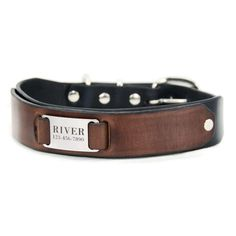 "Custom Leather Dog Collar -- Black and Brown Leather with a Stainless Steel Pet ID Tag, Personalized Engraved Nameplate, 1.5"" Wide by PupPanache on Etsy https://www.etsy.com/listing/215859507/custom-leather-dog-collar-black-and"