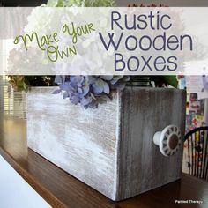 {DIY Rustic Wooden Box Planters!}