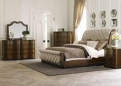 Liberty Furniture Cotswold Collection Queen Sleigh Bed with Sleigh Headboard and Footboard, Tufted Linen Upholstery and Bun Feet in Cinnamon Finish Royal Furniture, Liberty Furniture, Bedroom Furniture Sets, Bed Furniture, Furniture Outlet, Online Furniture, Cheap Furniture, Discount Furniture, Furniture Movers