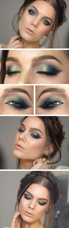 New Eye Makeup Green Eyeshadow Linda Hallberg Ideas Green Eyeshadow, Makeup For Green Eyes, Blue Makeup, Makeup Eyeshadow, Makeup Brushes, Eyeshadow Brushes, Linda Hallberg, Makeup Tips, Beauty Makeup