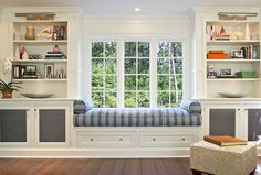 bay window seat with bookshelves So excited to get this((: (or about this)