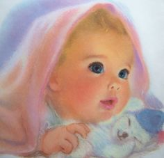 Northern Bathroom Tissue advertising art. Frances Hook of Flourtown, Pennsylvania created this series for the Northern Tissue & Towel Company with the idea of capturing the spirit and soft qualities of children with pastels.
