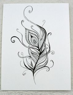 Hand Drawn Henna Style Peacock Feather. $30.00, via Etsy. <3<3<3!!