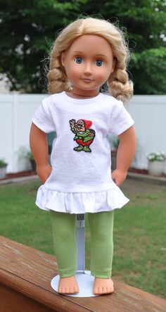 """Adorable tunic and leggings outfit for 18"""" dolls, fits American Girl and similar dolls. by PandasPlayhouseCo on Etsy"""