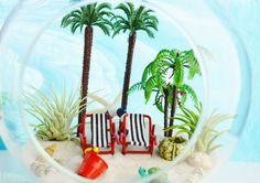 """Beach Resort Terrarium ~ Tall Palm Trees ~ Beach Chairs ~ Air Plants ~ 7"""" Glass…"""