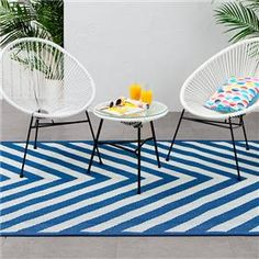 Acapulco Setting And Outdoor Rug Chevron Print Blue