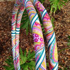 Pink Hula Hoop Bright paisley fabric hula hoop by HollyHoopsArt
