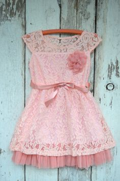 Pink lace flower girl dress lace dress by maidenlaneboutique but in