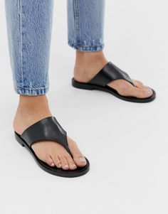 & Other Stories t-bar strap leather sandals in black at ASOS. Toe Ring Sandals, Toe Rings, Flip Flop Sandals, Black Sandals, Leather Sandals, Flip Flops, Mexican Style Dresses, Saved Items, Formal