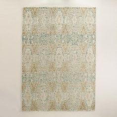 Blue and Gold Tufted Wool Soraya Area Rug | World Market