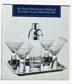 Home Essentials And Beyond Ten Piece Stainless Steel Etched Glass Martini Set Glass Etching, Etched Glass, Cut Glass, Clear Glass, Cocktail Glass, Cocktail Shaker, Martini Set, Drink Mixer