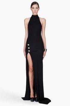 Balmain Long Black Backless Side Slit Dress in Black