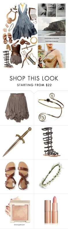 """""""Diana, princess of the Amazons."""" by princessaubra ❤ liked on Polyvore featuring Donna Karan, Sophia Kokosalaki, K. Jacques, Aéropostale, Emily Rose Flower Crowns and Robert Lee Morris"""