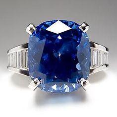 Trendy Diamond Rings : GIA 11 CARAT CUSHION CUT BLUE SAPPHIRE DIAMOND ENGAGEMENT RING #rings