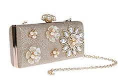 Pulama Womens Pearl Clutch 3D Floral Beaded Evening Handbag Formal Cocktail Party Purse Champagne -- For more information, visit image link.