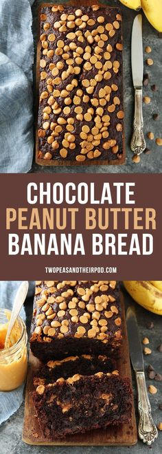 Chocolate Peanut Butter Banana Bread is the BEST banana bread recipe. This rich, chocolate banana bread has a swirl of peanut butter inside and peanut butter chips on top! Banana Bread Recipes, Best Banana Bread, Peanut Butter Banana Bread, Chocolate Banana Bread, Peanut Butter Chips, Chocolate Muffins, Peanut Butter Recipes, Brown Sugar Banana Bread, Chocolate Peanut Butter Cupcakes