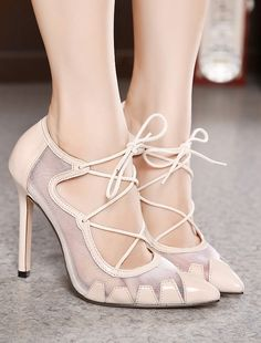 Pointed toe mesh lace up high heel shoes