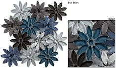 Tile size – multi size pieces Sheet size – 11 x 9 Sheet Coverage - SQF Tile per sheet - 120 Rows Per sheet - 4 Tile thickness - Grout joints – various All tiles are mesh moun Metal Mosaic Tiles, Mosaic Tiles, Mosaic Flowers, Interior Remodel, Glass, Glass Tile, Flower Tile, Mosaic Tile Backsplash Kitchen, Stone