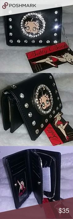 BETTY BOOP WALLET Black wallet with inside coin section. Features multiple sections with snap opening. Designed with large rhinestones. BETTY BOOP Bags Wallets