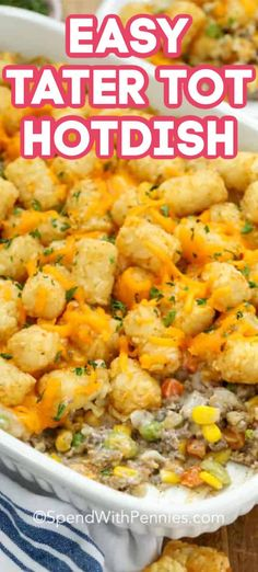A creamy tater tot hotdish is a classic go-to supper recipe in my house. Made with tater tots, ground beef, mixed vegetables, and a creamy mushroom sauce with sour cream it is a quick and versatile recipe. Tater Tot Recipes, Hotdish Recipes, Crockpot Recipes, Cooking Recipes, Easy Tater Tot Casserole, Tater Tots, Tatortot Hotdish, Mushroom Sauce, Supper Recipes