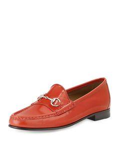 X2FXE Gucci 1953 Horsebit Leather Loafer, Orange