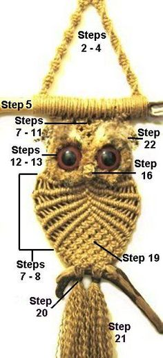 Learn the Macrame Owl Necklace Instructions while watching the short video tutorial. We have included Macrame Owl Wall Hanging Ideas for you too.free macrame owl pattern - site contains lots of other free macrame patternsFree tutorial for making this Macrame Owl, Macrame Knots, Macrame Jewelry, Free Macrame Patterns, Owl Patterns, Decorative Knots, Micro Macramé, Owl Crafts, Macrame Projects