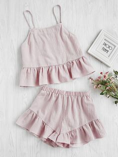 Shop Flounce Hem Cami Top With Shorts Pajama Set online. SheIn offers Flounce Hem Cami Top With Shorts Pajama Set & more to fit your fashionable needs. Mode Outfits, Night Outfits, Girl Outfits, Summer Outfits, Fashion Outfits, Outfit Night, Fashion Clothes, Cute Pajamas, Pajamas Women