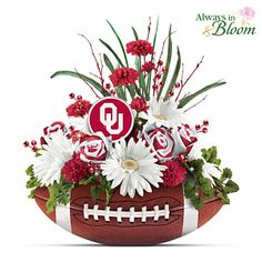 Sooners Blooming With Fan Pride Table Centerpiece