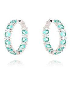 brinco argola prata de luxo com pedras turmalinas e zirconias cristais e banho de rodio semi joias online