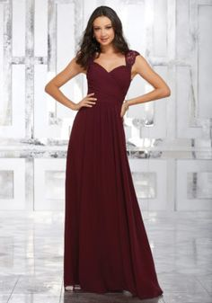 Sophisticated Chiffon Bridesmaids Dress Featuring a Flattering Wrap Style Bodice and Sweetheart Neckline. Beautifully Embroidered and Beaded Straps and a Keyhole Back Complete the Look. View Chiffon Swatch Card for Color Options. Mob Dresses, Dresses Online, Fashion Dresses, Mori Lee Bridesmaid Dresses, Burgundy Bridesmaid Dresses Long, Wedding Bridesmaids, Vestidos Color Vino, A Line Gown, Chiffon Gown