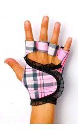 G-Loves Workout Gloves for Women | Pink Plaid Black Trim $45
