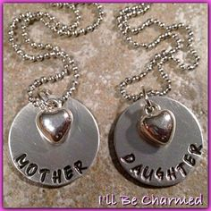 Mother & Daughter 2 Hand Stamped Necklace w/ Heart by ILLBECHARMED, $25.00