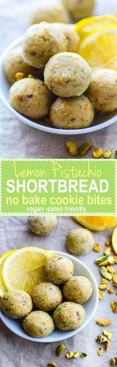 No Bake Lemon Pistachio Shortbread Cookie Bites! Vegan and Paleo friendly Cookie Bites that taste just like Shortbread Cookie but are actually good for you! Super easy to make, refreshing, light, and naturally gluten free! Gluten Free Baking, Gluten Free Desserts, Vegan Desserts, Raw Food Recipes, Vegan Gluten Free, Sweet Recipes, Snack Recipes, Dessert Recipes, Cooking Recipes