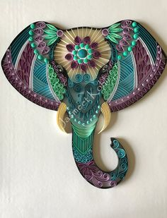 """This beautiful and unique Elephant head artwork is made by glueing 1/4 inch card stock paper strips to card stock/cardboard base in a Zentangle design. The artwork is ready to be framed in 11""""x14"""" shadow box frame or a deep frame. This decorative piece"""