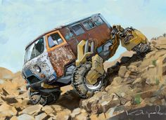 Kazakh artist reimagines Soviet cars as post-apocalyptic monster trucks Sketch Manga, Car Sketch, Car Illustration, Mad Max, Car Drawings, Vw T1, Sci Fi Art, Post Apocalyptic, Dieselpunk