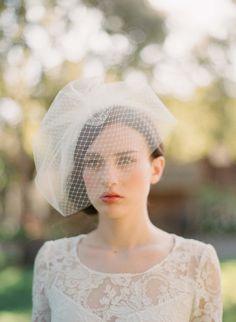 Bridal birdcage veil Double layer full birdcage veil by myrakim