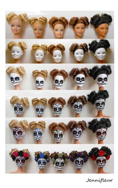 Barbie Day of Dead Halloween Doll, Halloween Signs, Fall Halloween, Halloween Crafts, Mexican Halloween, Halloween Party, Scary Halloween, Sugar Skull Crafts, Sugar Skulls