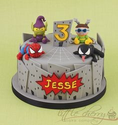 Baby Marvel Cake ~ cute baby versions of Spiderman, Venom, Green Goblin and Dr Octopus