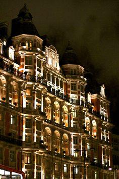 Harrod's department store at night - London, ENGLAND