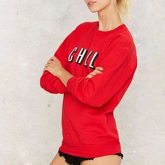 HDY Haoduoyi Autumn Women Fashion Solid Red Brief Letters Print Loose Sweatshirt Long Sleeve Crew Neck Pullover Sweatshirt