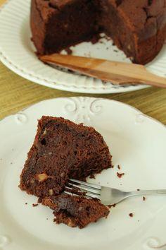 Bolo de chocolate e batata-doce