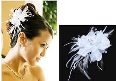 Bridal Feather Headpiece Comb Hair Accessories Ivory or White