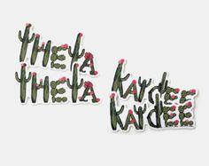 Greeek Cactus Stickers / swag flair gifts / Kappa Delta / Kappa Alpha Theta