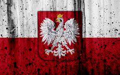 Download wallpapers Polish flag, 4k, grunge, flag of Poland, Europe, national symbols, Poland, coat of arms of Poland, Polish coat of arms