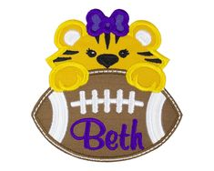 Tiger Football Patch Iron on patch Sew on patch Name Patches, Sew On Patches, Iron On Patches, Football Girls, Football Fans, Custom Patches, Applique Monogram, Embroidery Designs